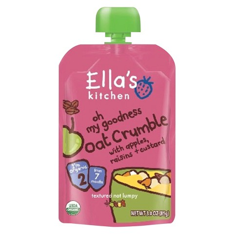 Ella's Kitchen Organic Pureed Baby Food Pouch - Stage 2 Oat Crumble w/Apple, Raisin, Custard 3oz (7 pack)