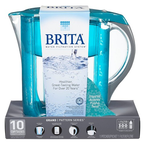 Brita Grand Water Filter Pitcher - Black/Blue/Turquiose