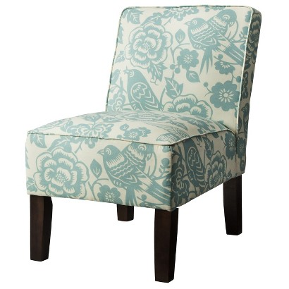 Burke Armless Slipper Chair - Blue Floral