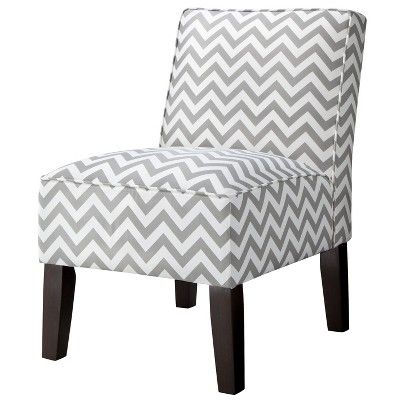 Burke Accent Print Slipper Chair - Grey & White Zigzag