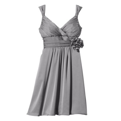 TEVOLIO Women's Satin V-Neck Dress with Removable Flower - Neutral Colors