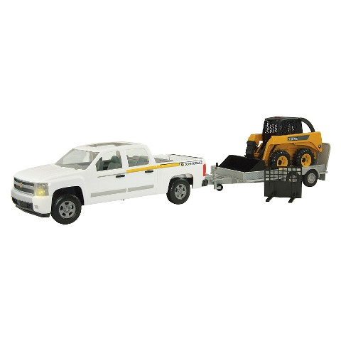 John Deere Big Farm 1:16 Truck Skidsteer and Flatbed Utility Trailer