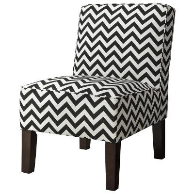 Burke Accent Print Slipper Chair - Black & White Zigzag