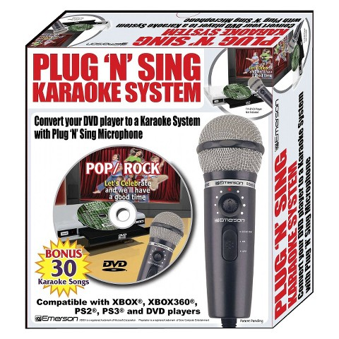 Karaoke USA MM205S Plug N Sing Karaoke Microphone with Echo and 30 Pop Karaoke Songs DVD
