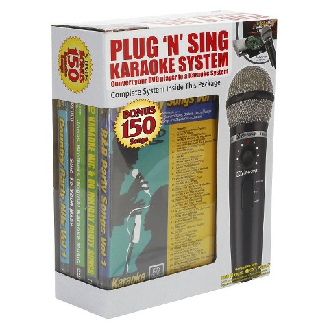 Karaoke USA Plug 'N' Play Karaoke Microphone System with 150-Songs DVD - MM221