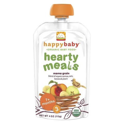 HappyBaby Stage 3 Organic Baby Food - Mama Grain Pouches (16 Pack)