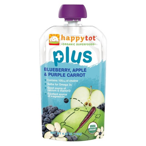Happy Baby Happy Tot Organic Superfoods Plus - Blueberry, Apple & Purple Carrot (16 Pack)