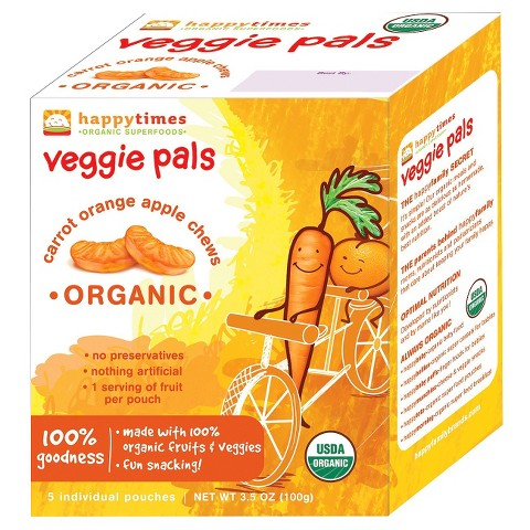 Happy Baby Happy Times Veggie Pals - Organic Carrot, Orange & Apple Chews (6 Pack)