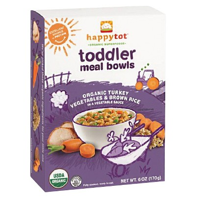 Happy Baby Happy Tot Organic Toddler Meal Bowls - Vegetables, Brown Rice & Turkey (12 Pack)