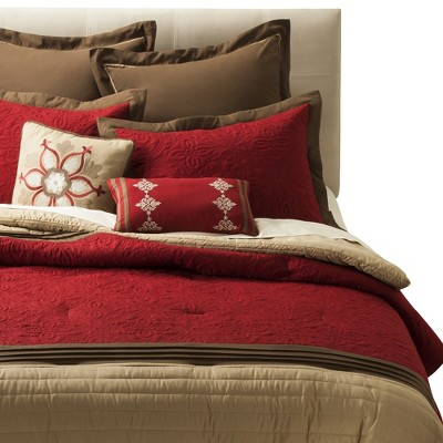 Kingston Comforter Set (Queen) Red - 8pc