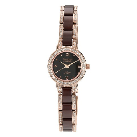 Armitron Women's Brown Crystal Ceramic Watch