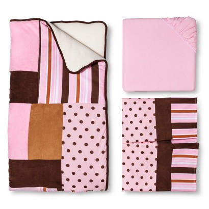 Trend Lab Maya 3Pc Crib Bedding Set - Pink/Brown