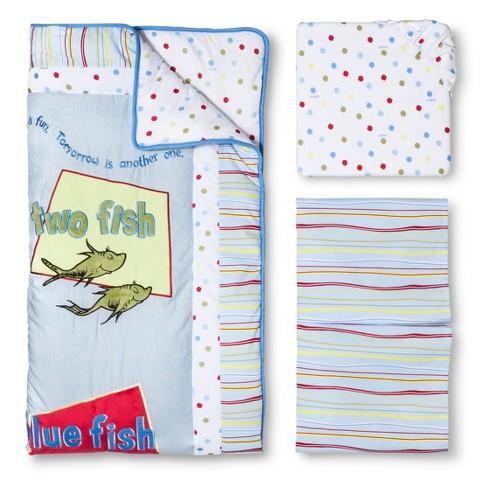 Trend Lab Dr Seuss One Fish Two Fish 3Pc Crib Bedding Set - Blue