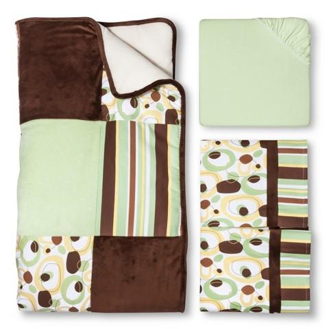Trend Lab Giggles 3Pc Crib Bedding Set - Sage/Brown
