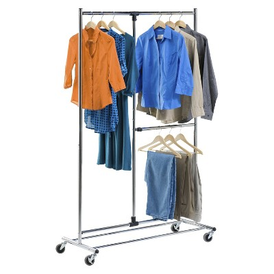 "Honey-Can-Do 80"" Dual Bar Chrome Adjustable Garment Rack - Silver"