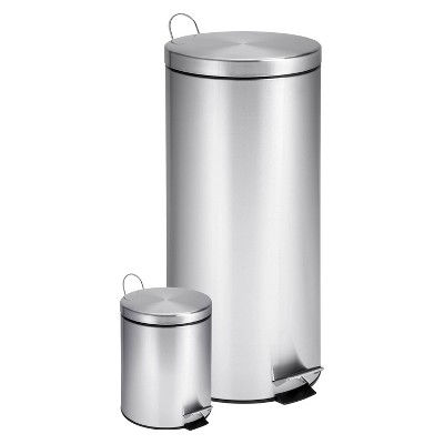 ECOM Honey-Can-Do Dual Pack Stainless Steel Step Trash Can- Silver (30 Litre & 3 Litre)