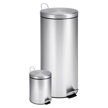 Honey-Can-Do Dual Pack Stainless Steel Step Trash Can- Silver (30 Litre & 3 Litre)