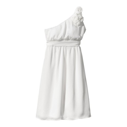 TEVOLIO Women's Satin One-Shoulder Rosette Dress - Neutral Colors