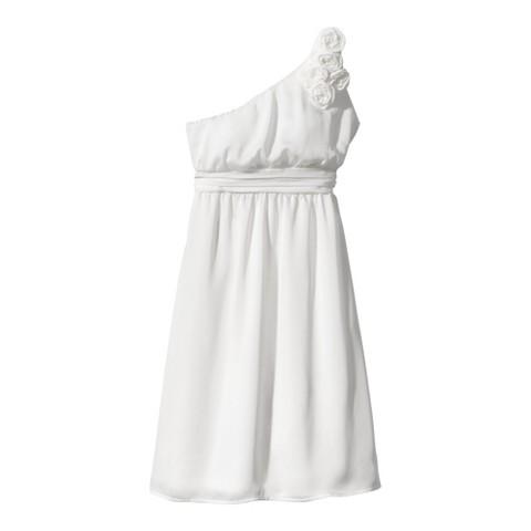 Women's Satin OneShoulder Rosette Bridesmaid Dress Neutral Colors - TEVOLIO&#153