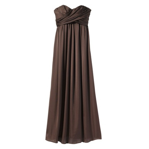 Women's Satin Strapless Maxi Bridesmaid Dress Neutral Colors - TEVOLIO&#153