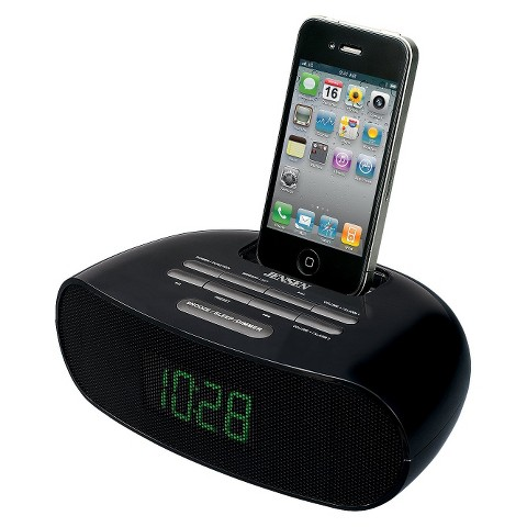 Jensen iPod/iPhone Dock Digital Music System with Dual Alarm Clock Radio - Black (JiMS-70i)