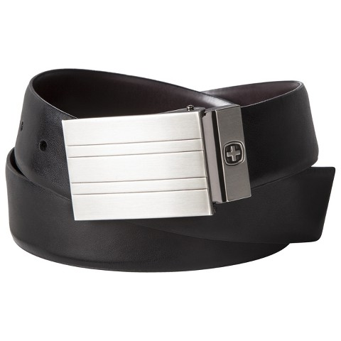 Swiss Gear Men's Genuine Leather Reversible Belt with Plaque Buckle - Black/Brown