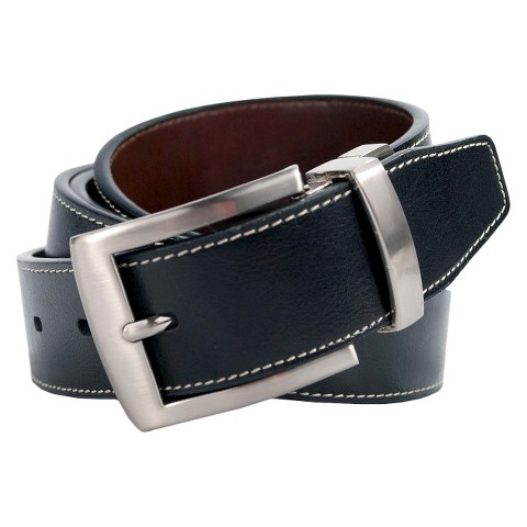 Swiss Gear Men's Genuine Leather Stitched Edge Belt - Black