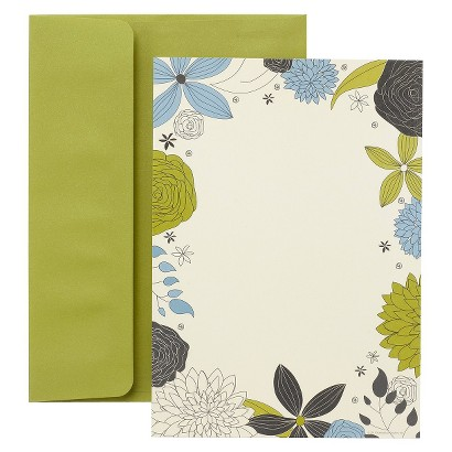 Floral Border Themed Party Invitation Notecards (30 Count)