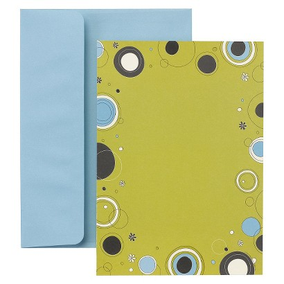 Lime with Navy Dots Themed Party Invitation Notecards (30 count)