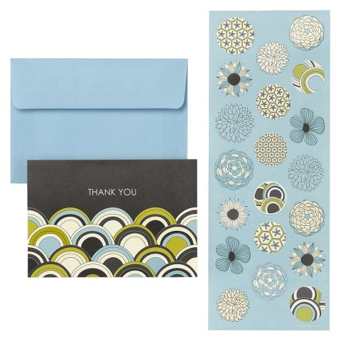 Foliage Rings Wedding Thank You Cards with Seals (20 count) - Blue/Black