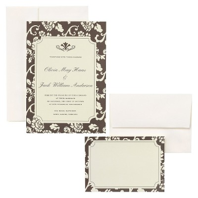 Brown Floral Border Wedding Invitations (50 count)