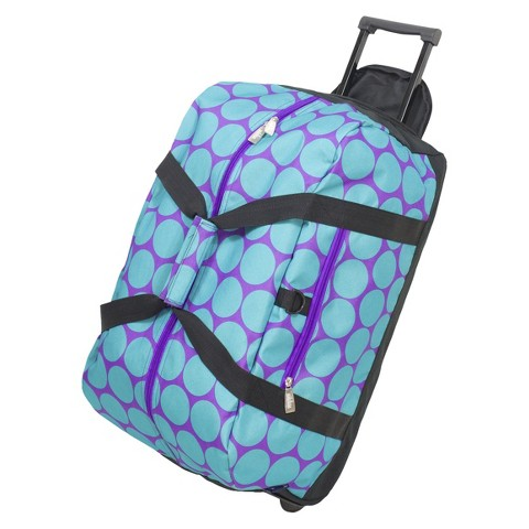 Wildkin Big Dots Aqua Rolling Duffel Bag - Blue/ Purple