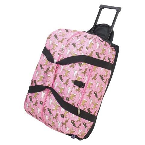 Wildkin Horses Rolling Duffel Backpack - Pink