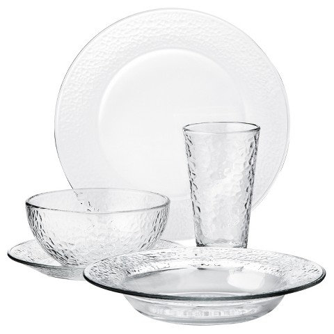 Libbey Frosted Glass 20 Piece Dinnerware Set