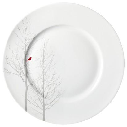 Winter Cardinal Round Dinner Plate Set of 4