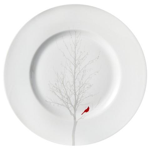 Winter Cardinal Round Salad Plate Set of 4