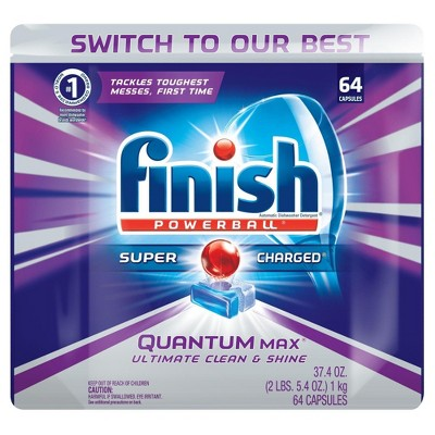 Finish Quantum Max Shine & Protect Dishwasher Detergent Tablets, Fresh Scent, 64 Count