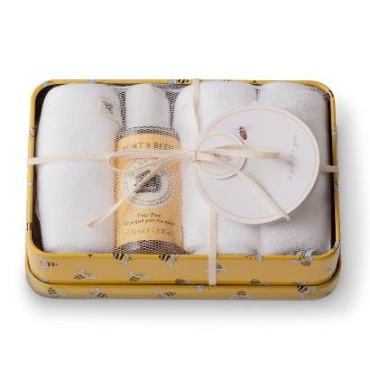 Burt's Bees Baby Organic Washtime Tin (Yellow Tin + 3 Washcloths + Mini Wash)