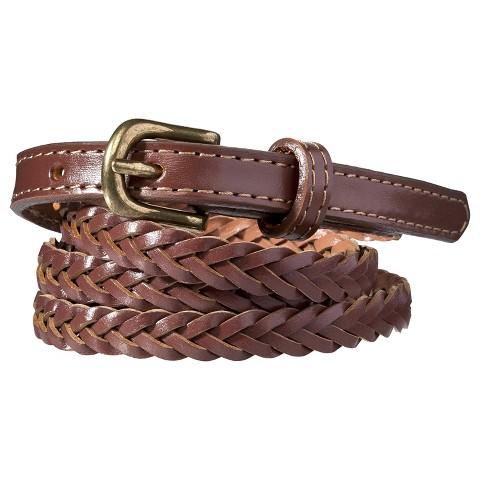 Merona® Skinny Braid Tab Belt - Brown