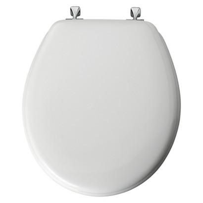 Round Molded Wood Toilet Seat with Chrome Hinge and STA-TITE® - White