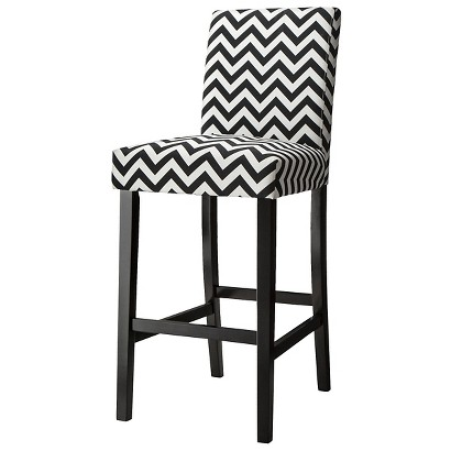 "30"" Uptown Bar Stool - Black & White Chevron"