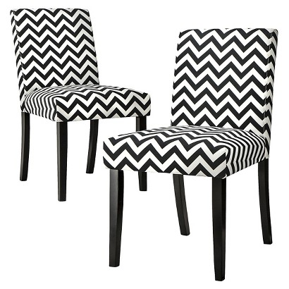 Uptown Dining Chair Set of 2 - Black & White Chevron