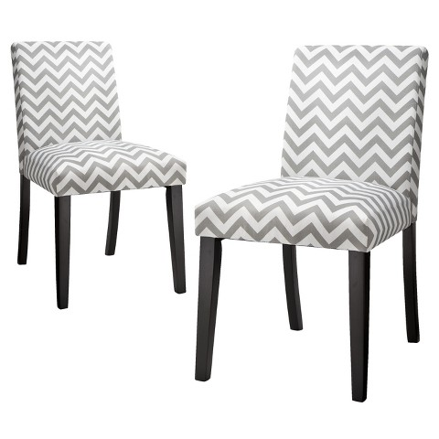Uptown Dining Chair - Grey & White Chevron (Set of 2)