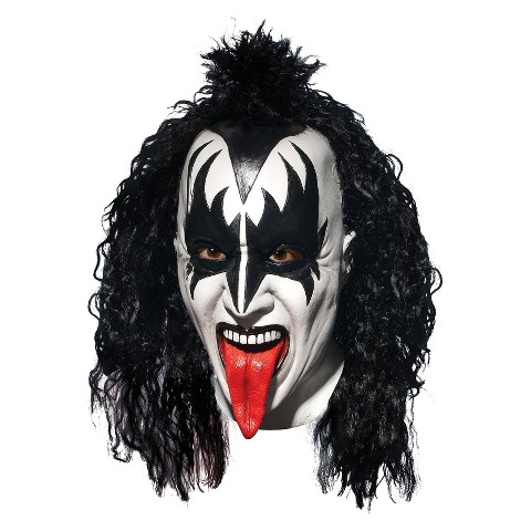 Adult KISS Demon Deluxe Latex Full Mask With Hair - One Size Fits Most