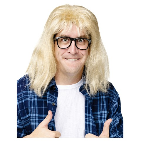 Adult SNL Garth Algar Wig and Glasses Accessory Kit - One Size Fits Most
