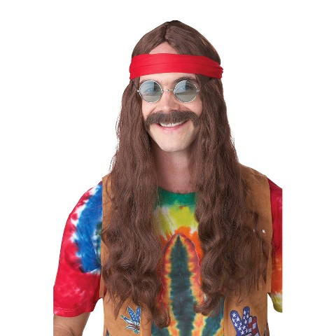 Adult Hippie Man Wig and Moustache - One Size Fits Most