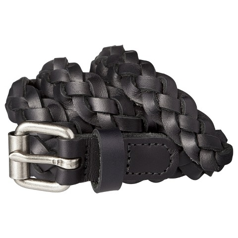 s braided black leather belt with silver b target