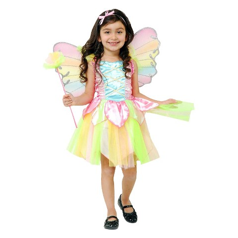 Toddler Girl Rainbow Princess Fairy Costume 2T-4T