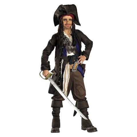 Pirates of the Caribbean Boys' Captain Jack Sparrow Prestige Costume