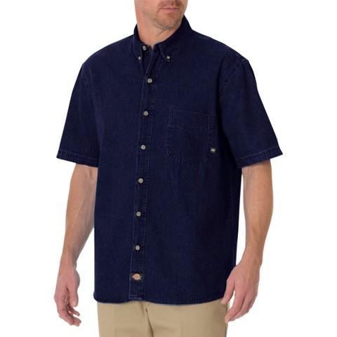 Dickies® - Men's Big & Tall Relaxed Fit Denim Short Sleeve Denim Button Down Shirt